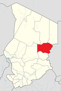 Map of Chad showing Wadi Fira.