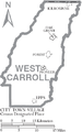 Map of West Carroll Parish Louisiana With Municipal Labels.PNG