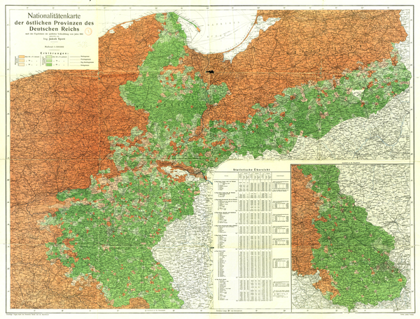 Majority Polish (green) and German areas in the Corridor (German 1910 census). Map of nationalities of eastern provinces of German Empire according to German census of 1910 by Jakob Spett.png