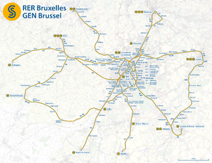 Brussels Regional Express Network - Image: Map of the RER Bruxelles GEN Brussels