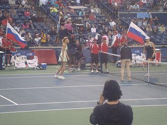 Alisa Kleybanova - Kleybanova vs. Sharapova at the 2009 Rogers Cup in Toronto, Ontario, Canada. Sharapova won 6–2, 4–6, 6–4.