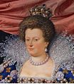 Maria de'Medici as Regent of France aged 38 in 1611 - Frans Pourbus Jnr - Uffizi, Florence (detail).jpg