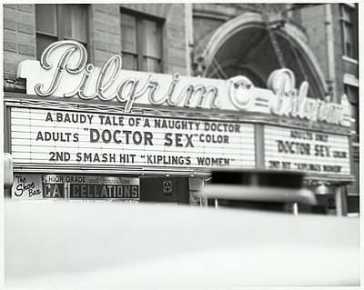 Marquee at Pilgrim Theatre on Washington Street showing Dr. Sex (1964)