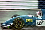 Martin Brundle - Ligier JS39 heads for Copse during practice for the 1993 British Grand Prix (33302768560).jpg