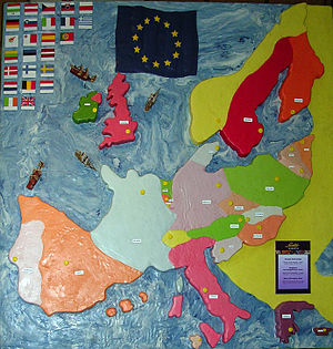 Marzipan - A marzipan map of the European Union made by the Budapest Marzipan Museum, commemorating the introduction of Hungary into the union in 2004.