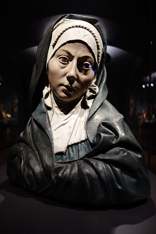 Mater Dolorosa (Our Lady of Sorowes) in the Rijksmuseum Amsterdam. This buste is made, between 1507 and 1510, of teracotta for Margaret of Austria. The buste is attributed to Pietro Torrigiano. Parts of the polychrome are original.