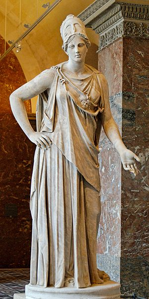 Athena - Mattei Athena at Louvre. Roman copy from the 1st century BC/AD after a Greek original of the 4th century BC, attributed to Cephisodotos or Euphranor.