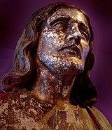Detalhe de estátua-molde de Jesus