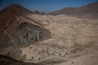 Mes Aynak - The archeologists' camp sits beneath a monastery.