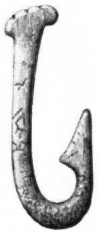 History of fishing - Stone Age fish hook made from bone.