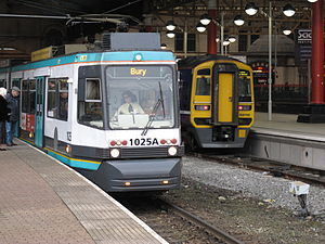 Merseytram - Unlike Merseytram, Greater Manchester's Metrolink runs into mainline station platforms for ease of changing to other rail services