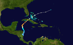 Hurricane Michelle - Image: Michelle 2001 track