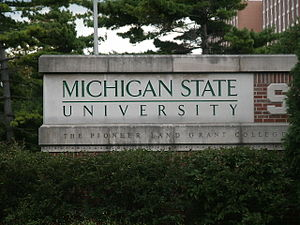 English: Michigan State University sign.