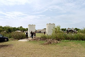 Middlefaire - Fairgoers enter the Middlefaire site to attend the first Texas Pirate Festival. (2010)