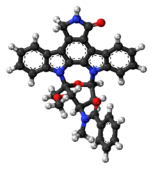 Ball-and-stick model of the midostaurin molecule