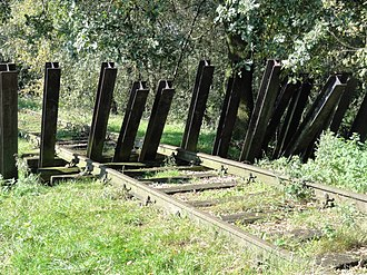"""Battle of Mill - A replica of the """"asparagus"""" barricade that was used to derail the German train."""