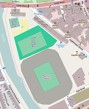 Millennium Stadium - Map of the Millennium Stadium (south ground) and Cardiff Arms Park (north ground)