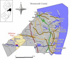 Map of Millstone Township in Monmouth County. Inset: Location of Monmouth County highlighted in the State of New Jersey.