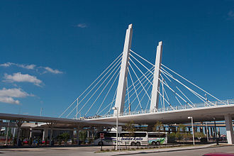 Milwaukee Intermodal Station - Intercity coach platforms are located partially under the Sixth Street Viaduct