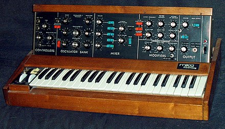 The Minimoog, introduced in 1970, was the first synthesizer sold in music stores. Minimoog.JPG