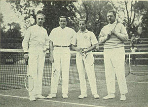 Vladimir Landau - from left:Jenő Pétery, Béla von Kehrling, Landau and René Gallèpe in the Hungary-Monaco 1929 Davis Cup tie