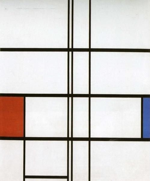 Mondrian, Compositie met rood en blauw