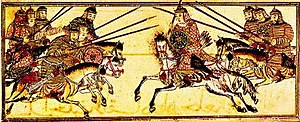 Battle of Legnica - The Mongol heavy cavalry in battle (13th or 14th century).