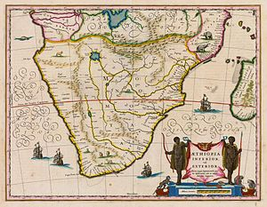 Zambezi - Map by Willem Janszoon Blaeu, dated 1635, showing the course of the Zambezi, and its source in a great lake.