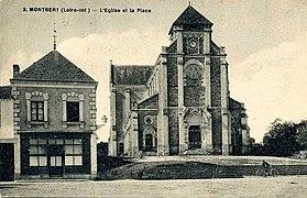 Carte postale noir et blanc représentant une église.