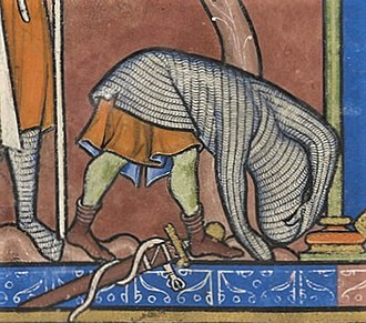 Hauberk - A soldier removing a hauberk, from the 13th-century Morgan Bible