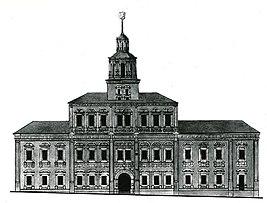 Фасад, выходящий на проезд Воскресенских ворот. Чертёж Осипа Бове, 1816.