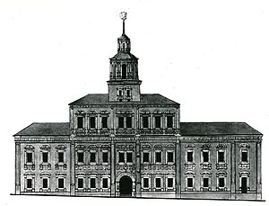 Moscow State University - The Principal Medicine Store building on Red Square that housed Moscow University from 1755 to 1787