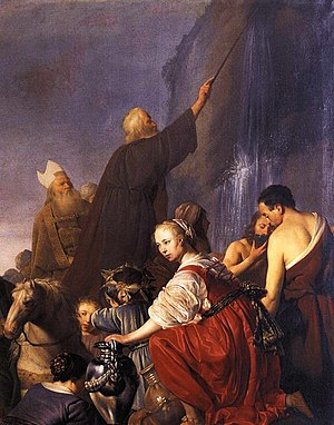 Staff of Moses - Moses strikes the rock with his staff, painting by Pieter de Grebber, c.1630