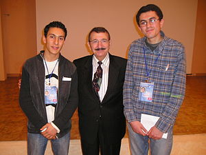 Mostapha with 2 students.JPG