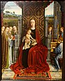Mother of God Enthroned with Angel Musicians, by Ambrosius Benson, Brugge, 1520-1530, oil on oak, view 1 - Hessisches Landesmuseum Darmstadt - Darmstadt, Germany - DSC01301.jpg