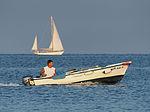 Motor boat and sailing yacht (Adriatic Sea).jpg