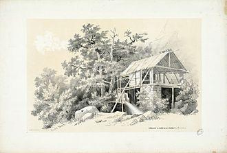 Saint-Mamet - Sawmill in Saint-Mamet by Eugène de Malbos, near 1840.