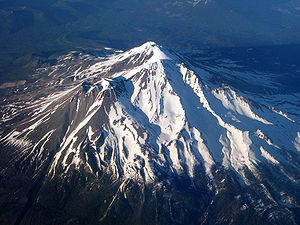 Aerial photo of Mount Shasta taken while flyin...