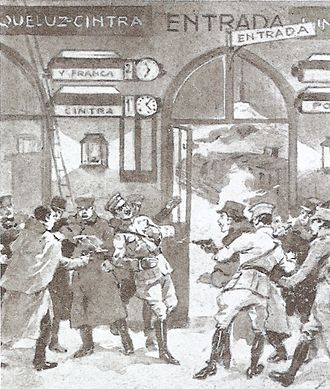 1918 in Portugal - The murder of Portuguese president Sidónio Pais at the Lisboa-Rossio Railway Station, on 14 December 1918.