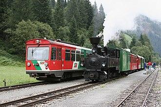 Mur Valley Railway - Murtalbahn railcar VT31 and steam engine U11 at Ramingstein-Thomatal station in 2005.