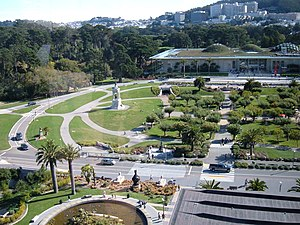Music Concourse - The northern end of the Concourse after the most recent renovations, as seen from the de Young Museum in 2009.