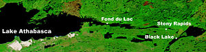Fond-du-Lac - NASA image showing Fond-du-Lac on Lake Athabasca