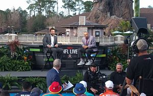 NFL Live - Jeff Saturday and Herm Edwards on stage during the shooting of NFL Live at Disney Springs during the 2017 Pro Bowl week