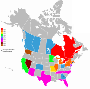 History of the National Hockey League - Map of Canadian provinces and U.S. states, and what decade they got their first NHL team.