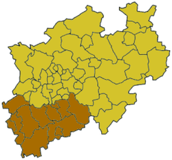 Map of North Rhine-Westphalia highlighting the Regierungsbezirk of Cologne