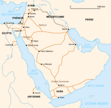 carte du monde arabe avec le traces de routes