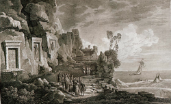 Nahr el Kelb inscriptions, Louis François Cassas, 1799.png
