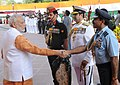 Narendra Modi being received by the three Service Chiefs, General Dalbir Singh, Admiral R.K. Dhowan and Air Chief Marshal Arup Raha, on his arrival at Amar Jawan Jyoti, India Gate, for paying homage to the brave soldiers.jpg