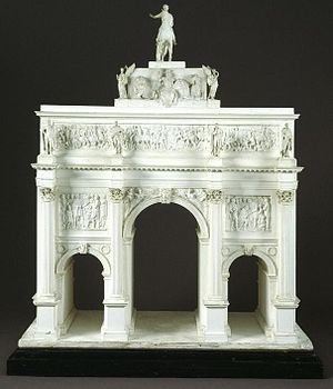 Equestrian statue of George IV, Trafalgar Square - Model of John Nash's original design for Marble Arch, featuring the statue of George IV on top of the arch