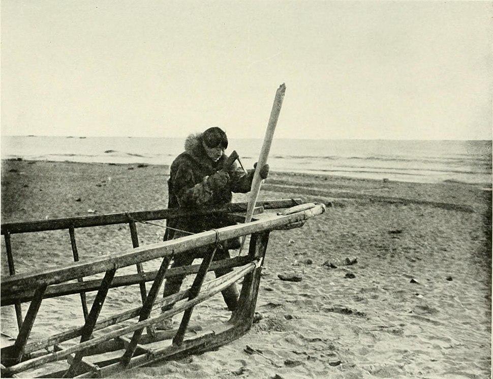 Native Alaskan boat builder